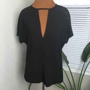 Zara woman black keyhole blouse with rhinestones